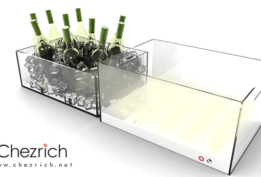 Acrylic Wine Bottle tray with LED lightings 1