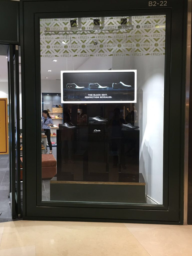 window display for Clarks Singapore